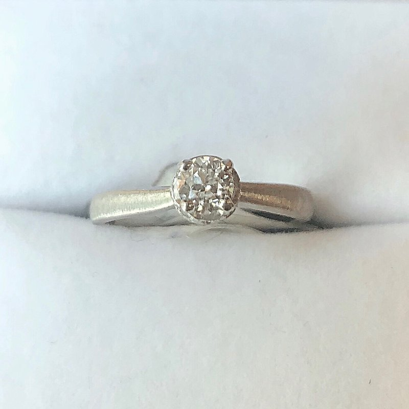 Estate Jewelry White 14k Engagement Ring