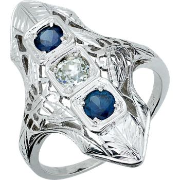 Vintage Filigree Shield Ring