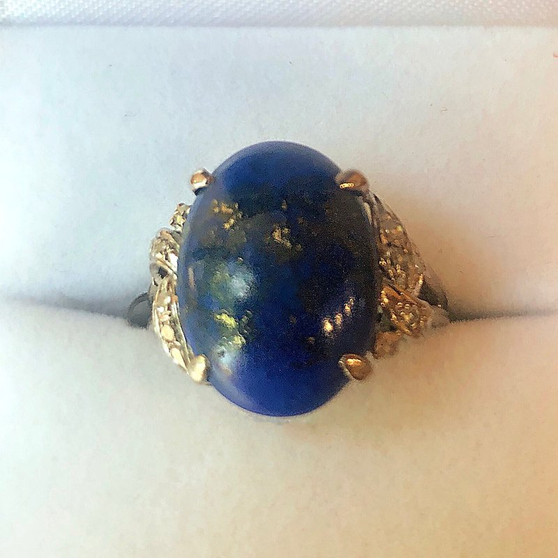 Estate Jewelry Lady's White 14k Gold Vintage Opal Lapis Ring