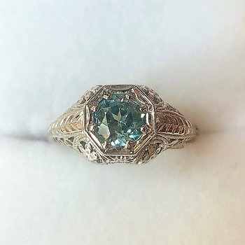 Vintage Blue Zircon Engagement Ring