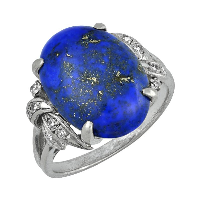 Vintage Diamond and Lapiz Lazuli Ring