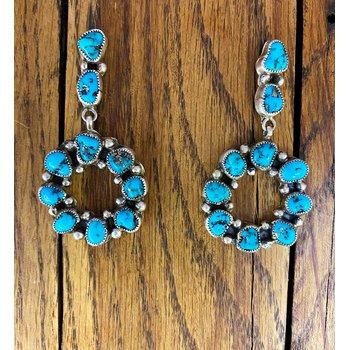 Dark Circle Stone Earrings