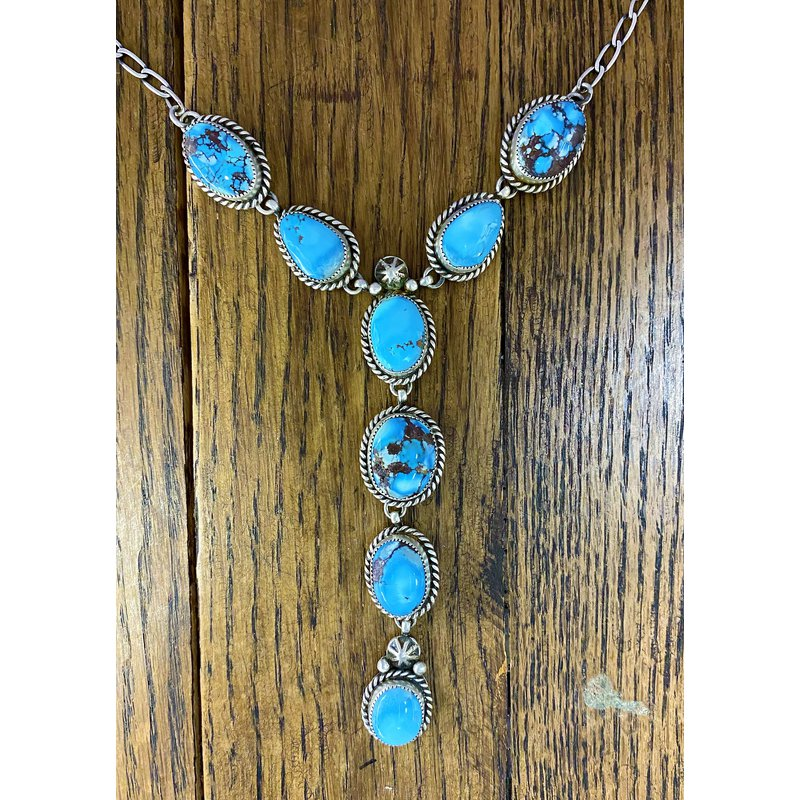 F.A.T Native NM Blue Bezel Necklace and Earring Set