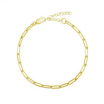 """Gold Plated Paperclip Link Anklet - 10"""""""