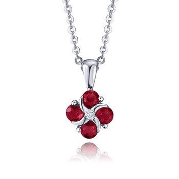 "14K Diamond & Ruby Pendant, 18"""