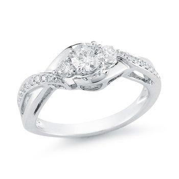 Crossover Three Stone Engagement Ring, 0.75 TDW
