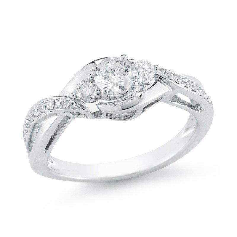 Paragems Crossover Three Stone Engagement Ring, 0.75 TDW