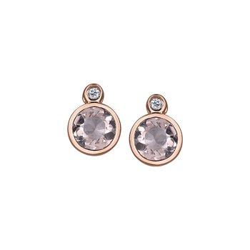 10k Morganite & Diamond Drop Earrings