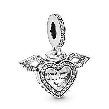 Heart & Angel Wings Dangle Charm