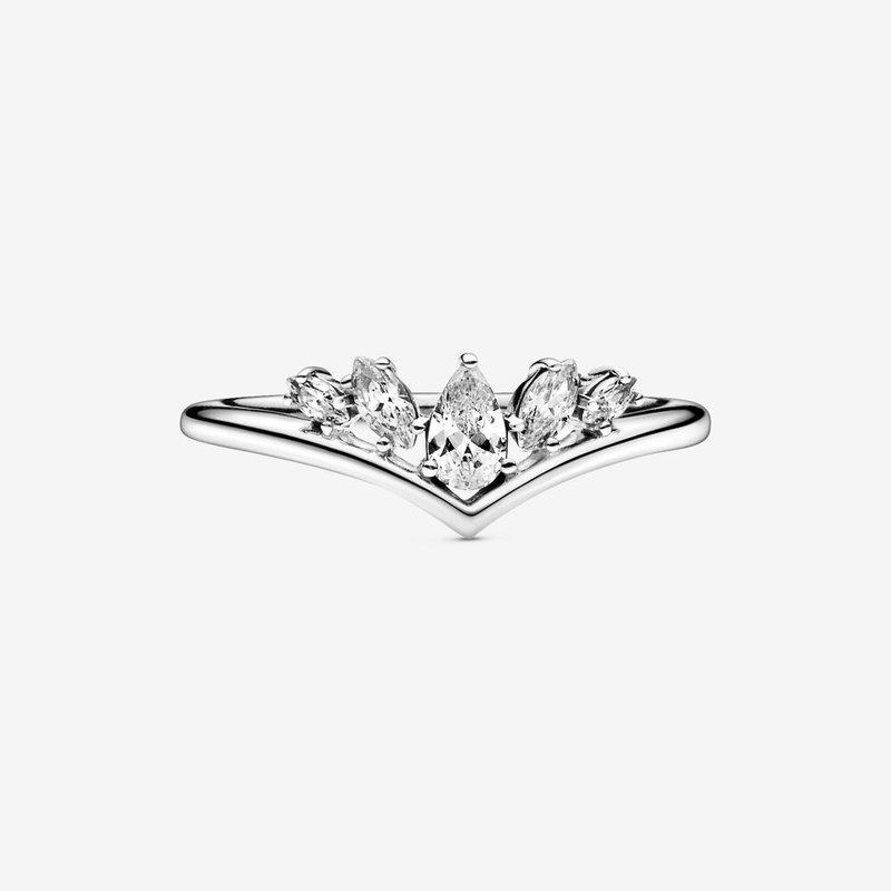 Pandora Sparkling Pear & Marquise Wishbone Ring, size 5.0