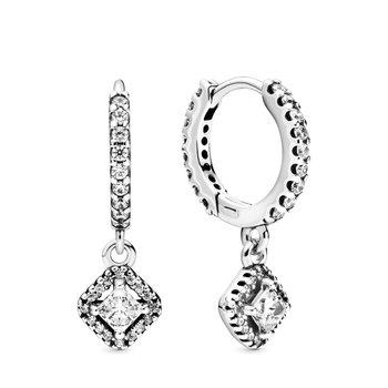 Square Sparkle Hoop Earrings