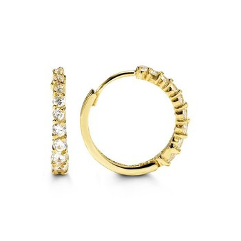 10k Yellow Gold CZ Huggie Earrings