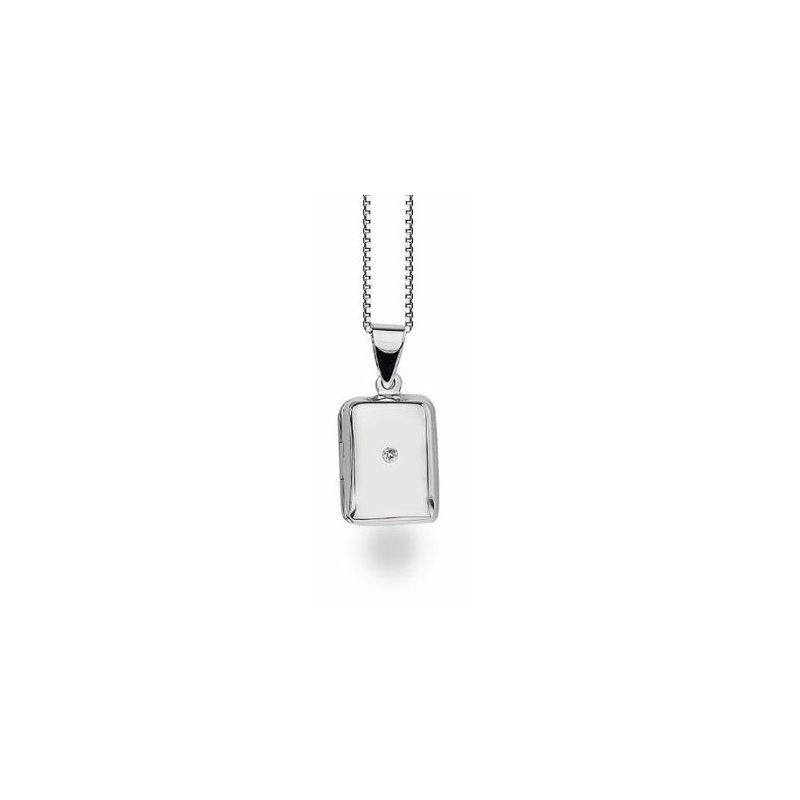 White Ice Rectangle Locket Diamond Pendant