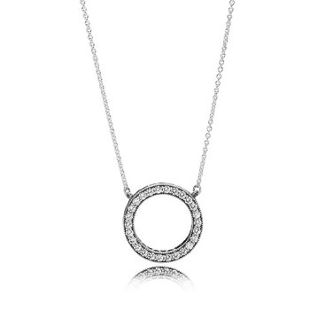 """Circle of Sparkle Necklace, 17.7"""""""