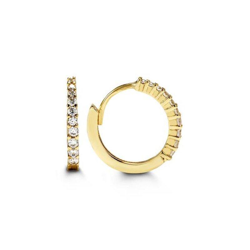 Bella 10Kt Yellow Gold CZ Huggie Earrings