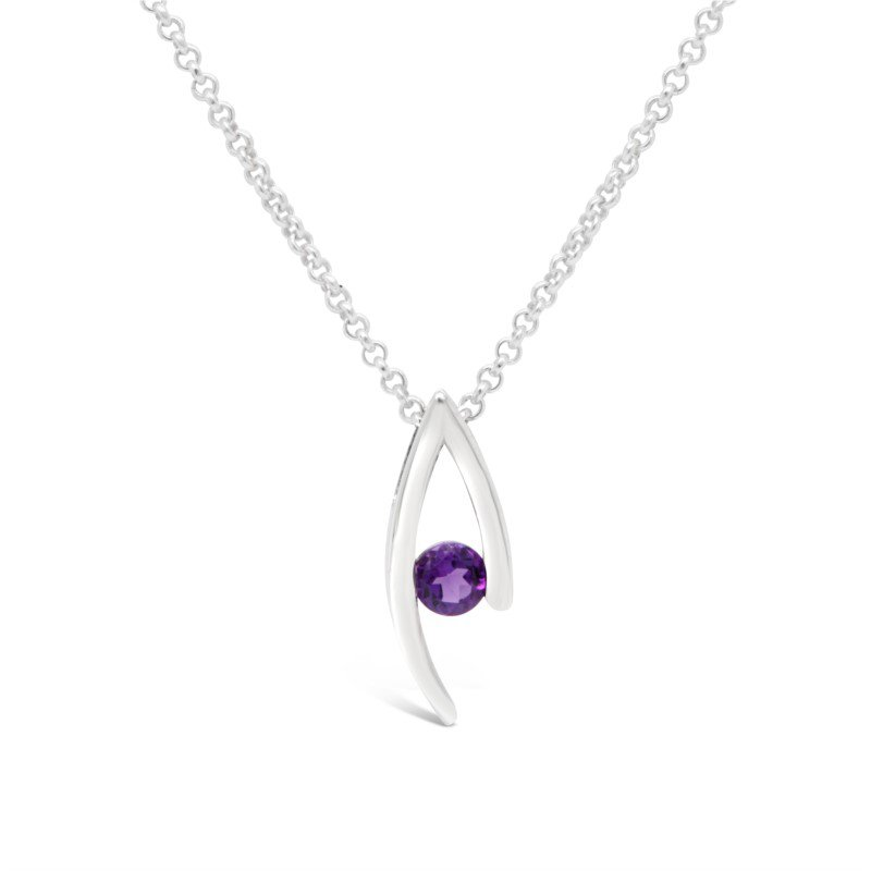 GNM Sterling Collection February Birthstone Pendant