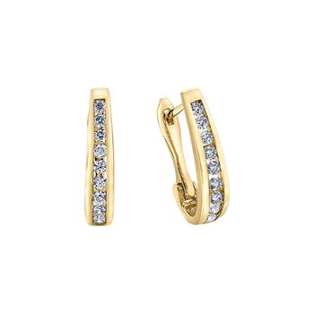 10k diamond hoop earrings