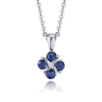 "14K Diamond & Sapphire Pendant, 18"""