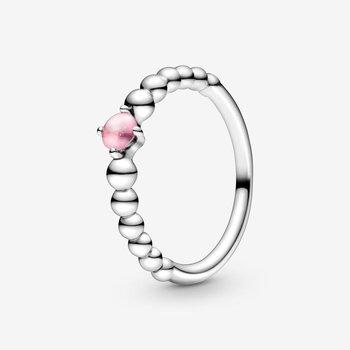 Petal Pink Beaded Ring, size 7.0