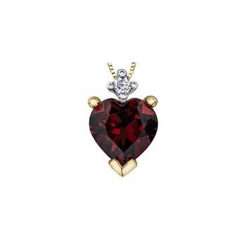 10K Heart Garnet Pendant