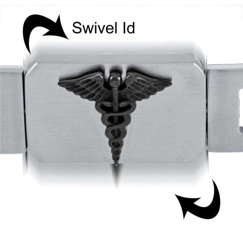 Italgem Heavy Medical Bracelet with Black I.D