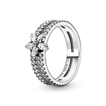 Sparkling Snowflake Double Ring, size 9.0
