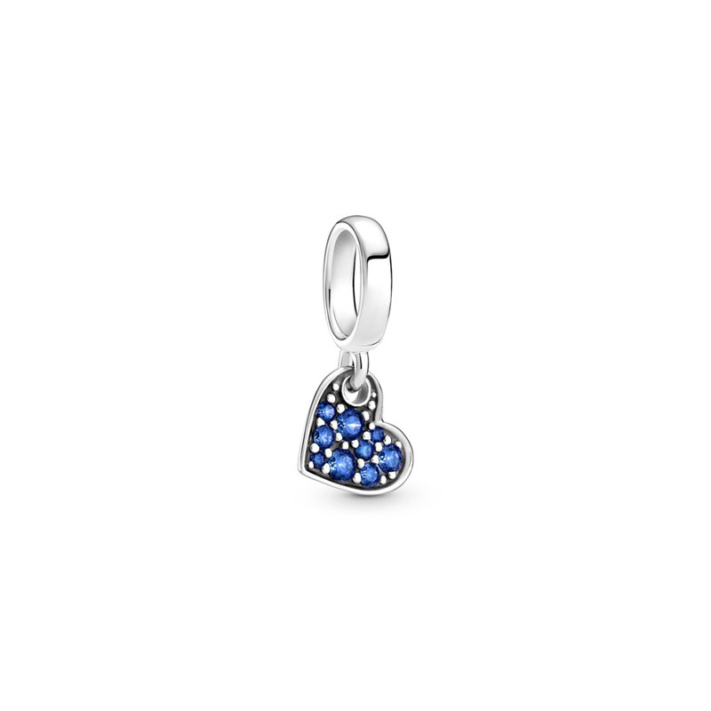 Pandora Stellar Blue Pavé Tilted Heart Dangle Charm
