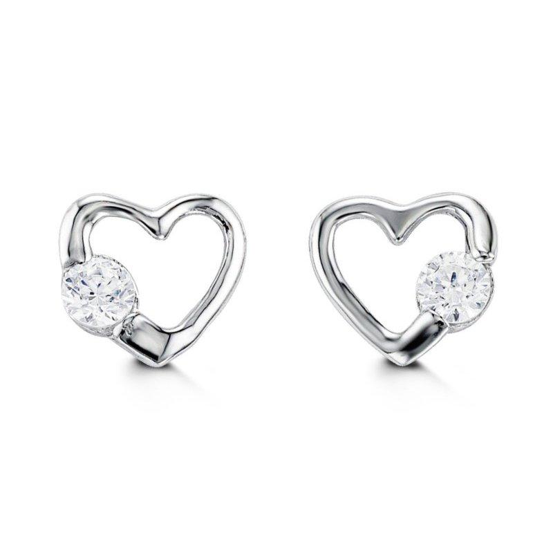 Bella 14k Baby Bella Heart CZ Earrings
