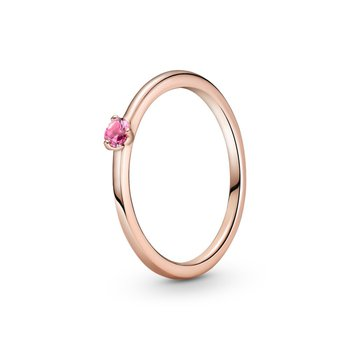 Pink Solitaire Ring, size 6.0