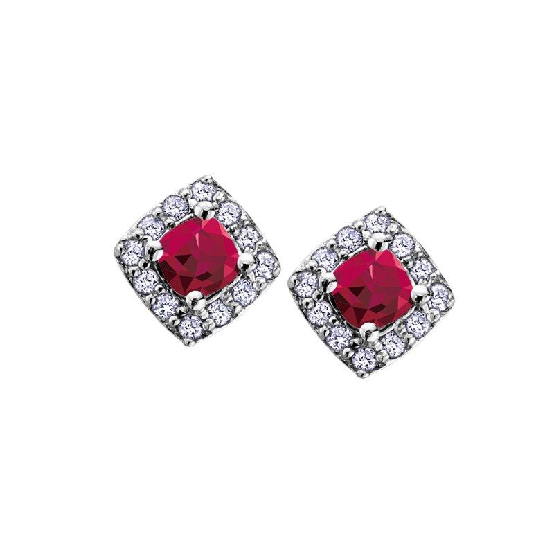 Diamond Days 10K July Birthstone Halo Stud Earring