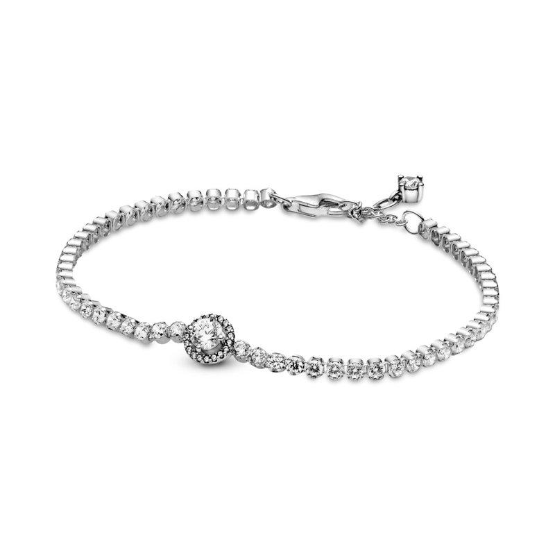 "Pandora Sparkling Halo Tennis Bracelet, 7.9"""