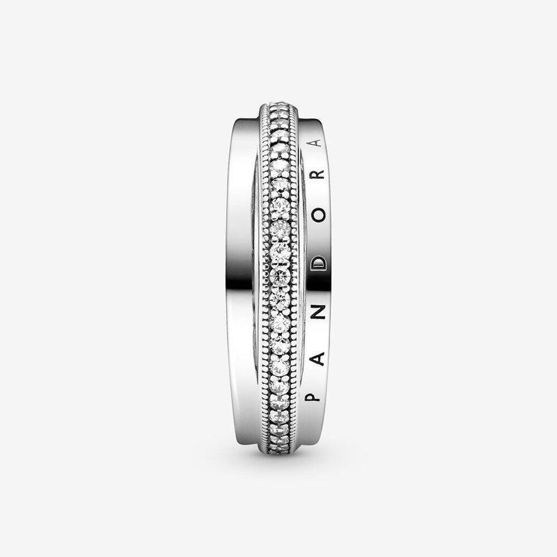 Pandora Triple Band Pavé Ring, size 7.5