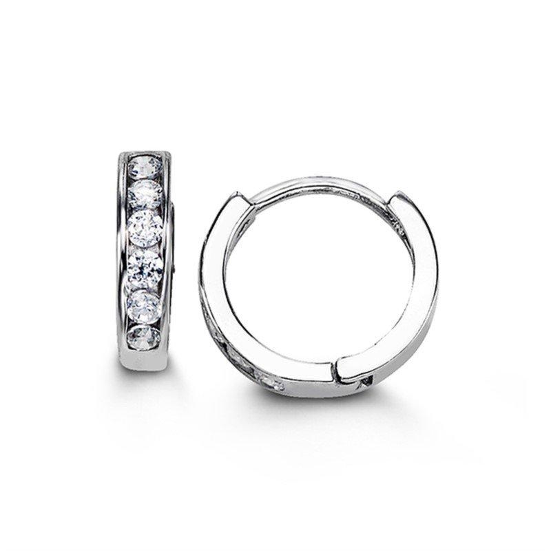 Bella Bella 925 Sterling Silver CZ 12mm Huggie Earrings