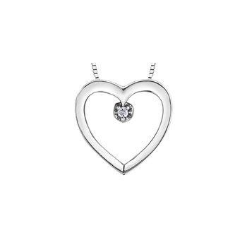 10K Diamond Heart Pendant, 0.01 TDW