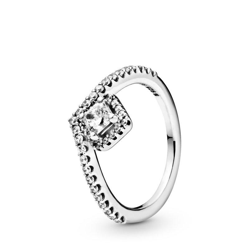 Pandora Square Sparkle Wishbone Ring, size 7.0