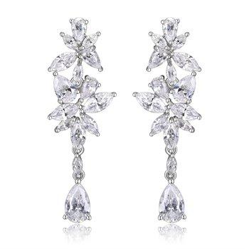 Sterling Silver Dangle Flower Earrings