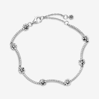 """Sparkling Daisy Flower Bracelet, 6.3"""""""