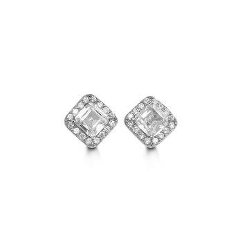 10K Square CZ Halo Earrings