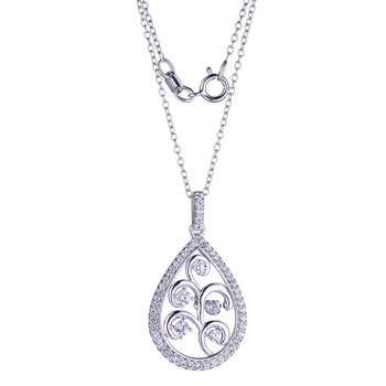 Shiver Collection Sterling Silver CZ Pendant & Chain