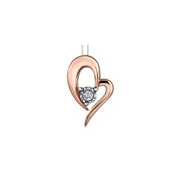 10k Rose gold Pulse heart Pendant