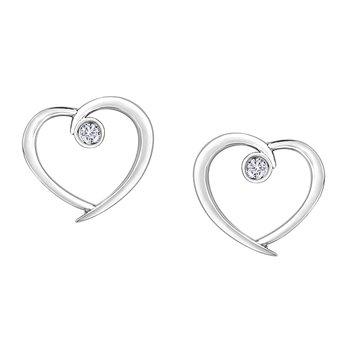 10K Diamond Heart Earrings