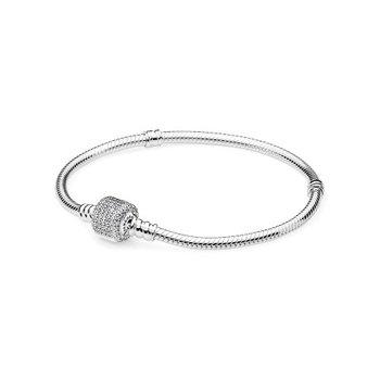 "Moments Sparkling Pave Clasp Snake Chain Bracelet, 7.1"""