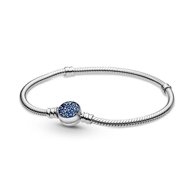 "Pandora Moments Sparkling Blue Disc Clasp Snake Chain Bracelet, 7.5"""