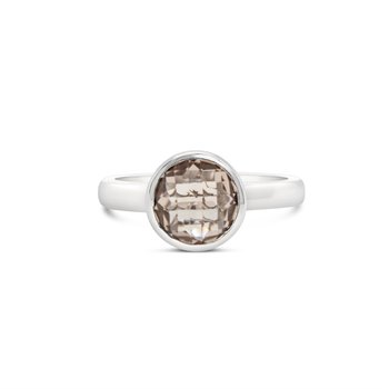 Checkerboard Smokey Quartz Ring