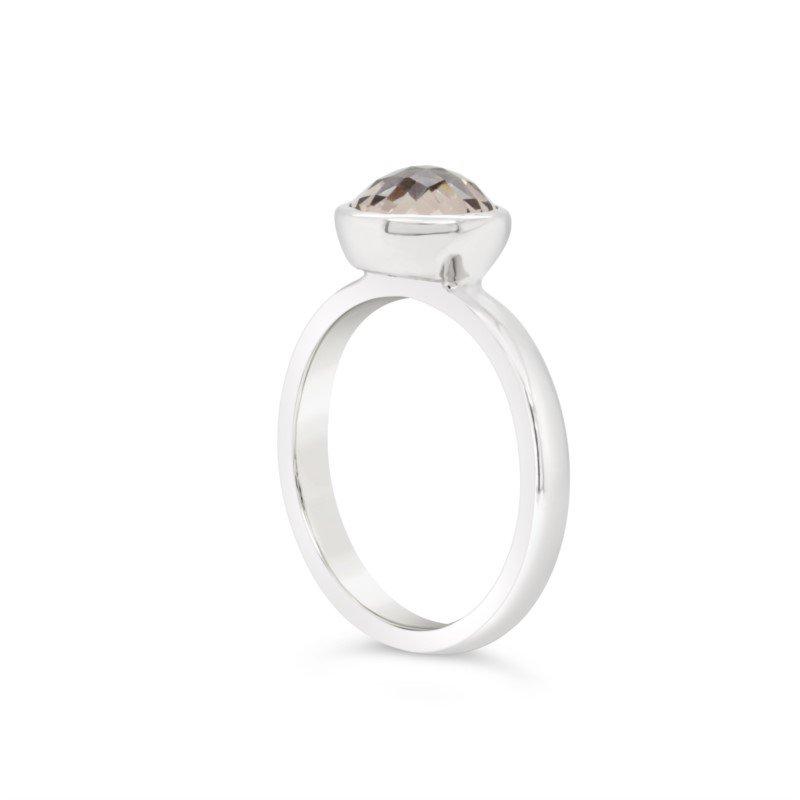 GNM Sterling Collection Checkerboard Smokey Quartz Ring