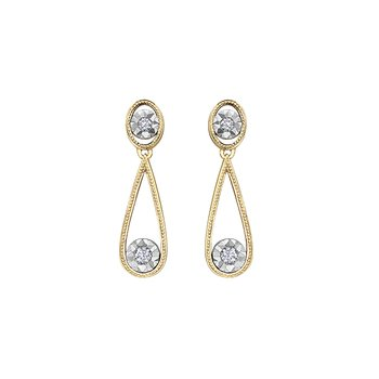 10K Diamond Drop Earring, 0.06 TDW