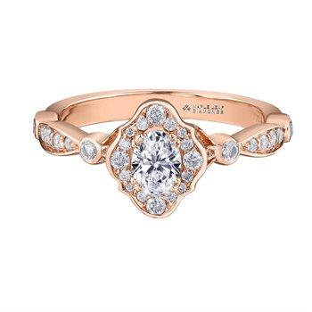 14K Vintage Style Engagement Ring, 0.51 TDW