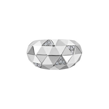 Sterling Silver Contemporary Diamond Fashion Band, 0.12 tdw