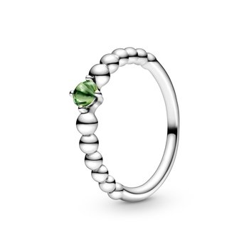 Spring Green Beaded Ring, size 7.5