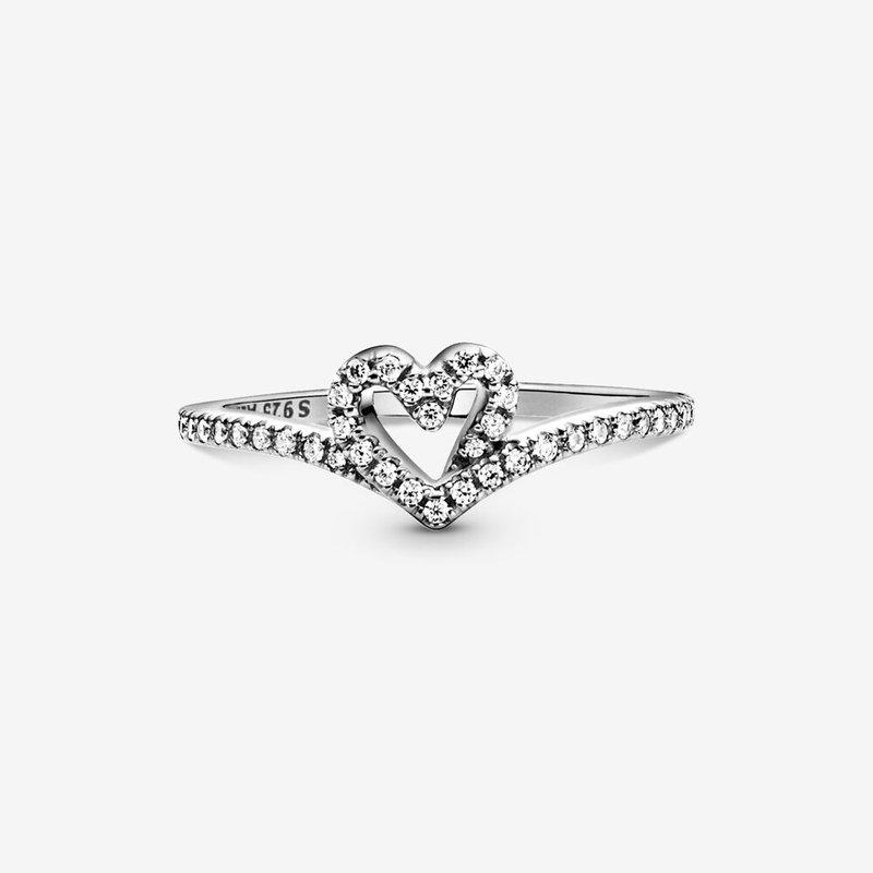 Pandora Sparkling Wishbone Heart Ring, size 5.0